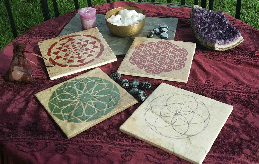 Hand Painted Sacred Geometry Crystal Grid or Display Tiles