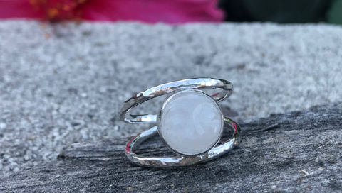 Beautiful Moon Face carved White Moonstone Hand Set in Sterling Silver Double Band; FB1468