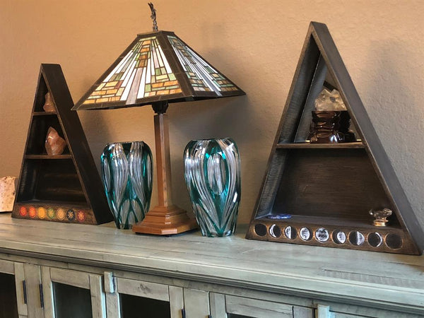 Wood Triangle Altar / Display Shelf, Chakra or Moon Phases from Bali; FB2544