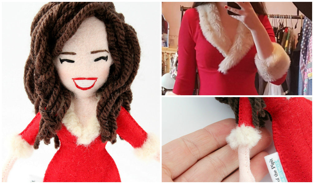 Art doll in Mrs Clause dress