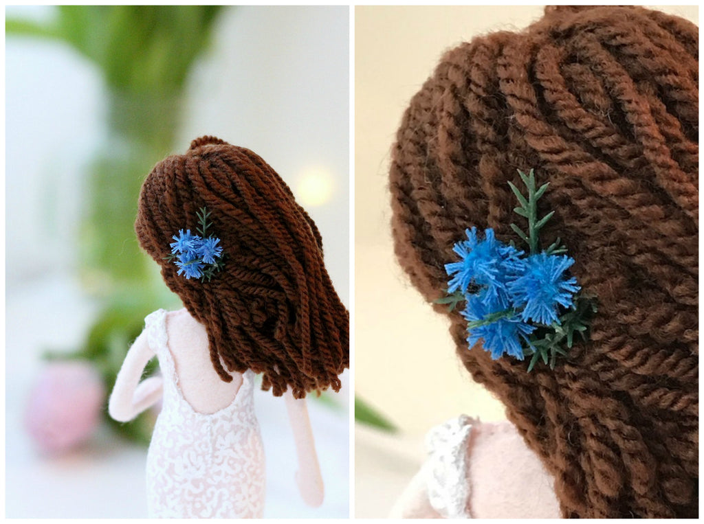 tristle hair pin on bride doll