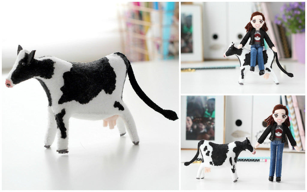 felt doll of a cow, whisper of the pipit
