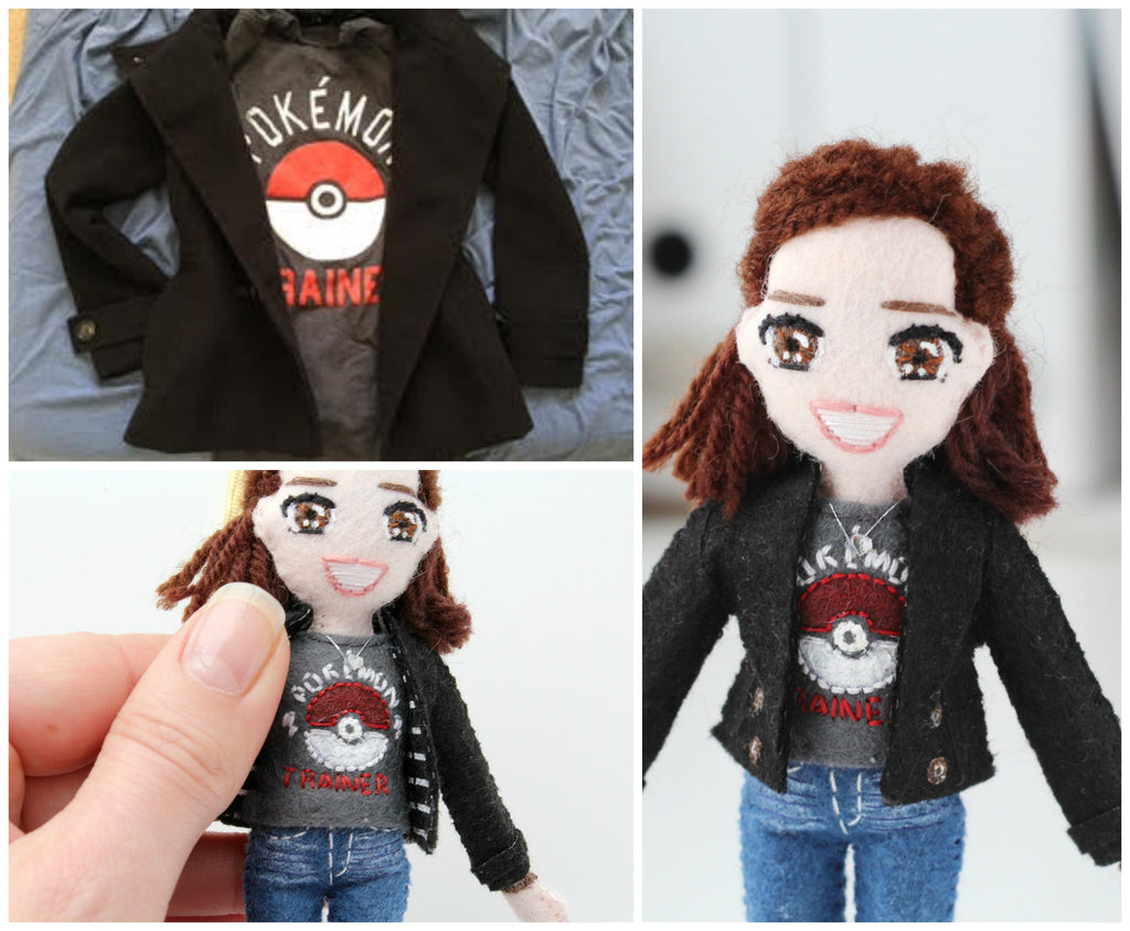 pokemon t-shirt of a selfie doll, whisper of the pipit, personalised doll
