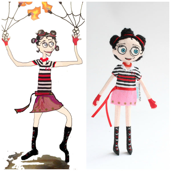circus girl, illustration by Melissa L Berger (Mandisa), art doll by Whisper of the Pipit, Handmade dolls
