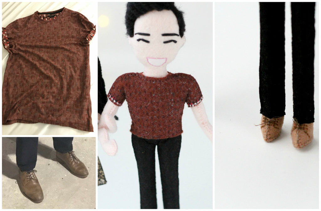 t-shirt pattern on selfie doll