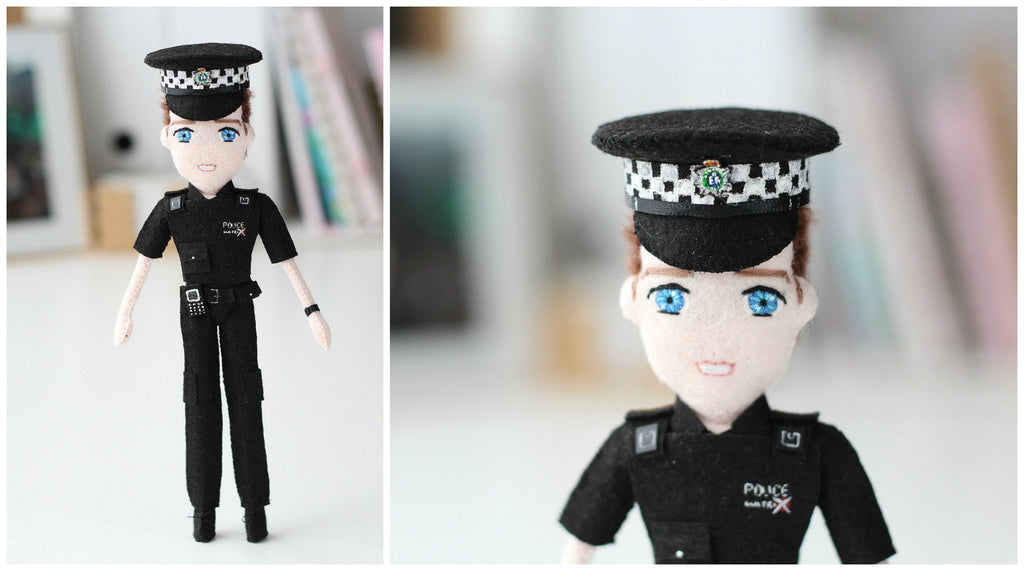 police officer doll. selfie police officer. whisper of the pipit dolls