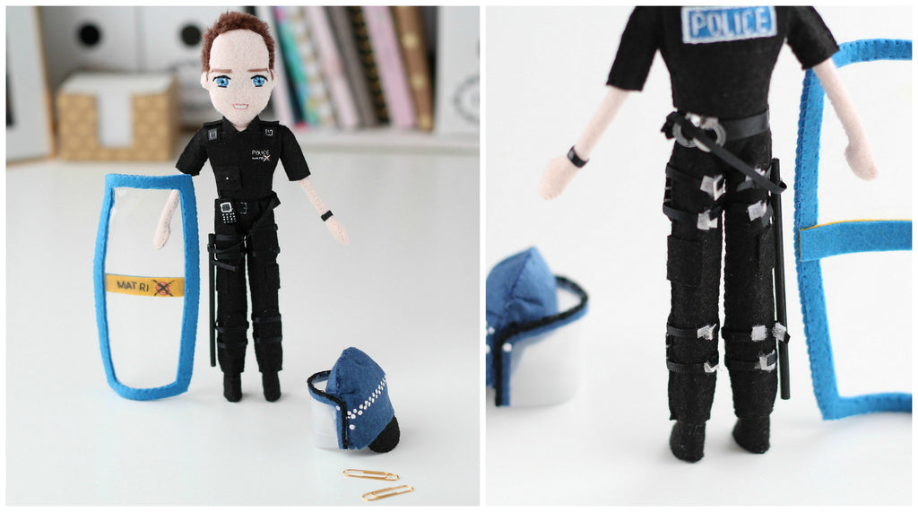 matrix police officer. police officer doll. made to order. handmade dolls. whisper of the pipit