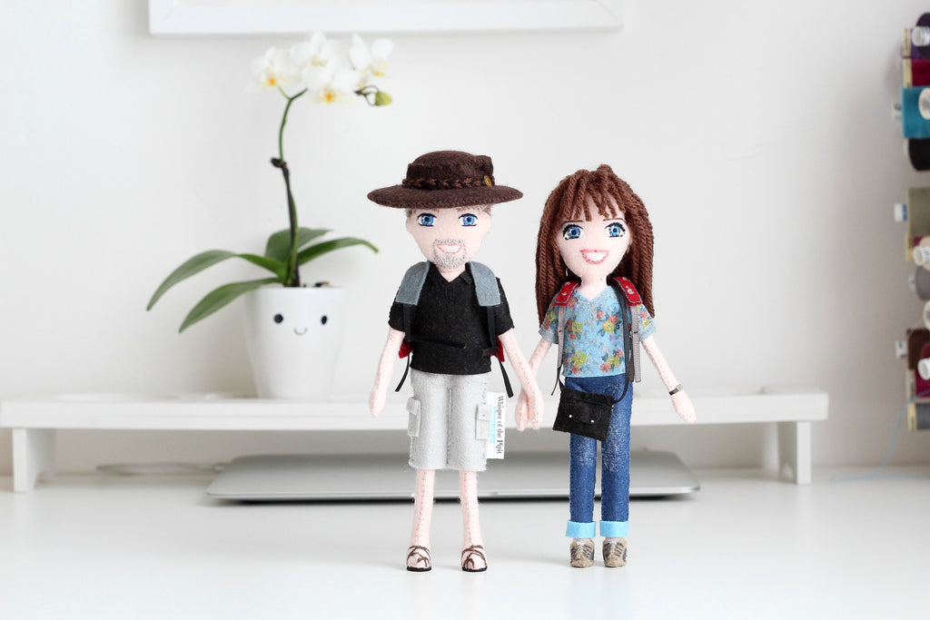 selfie dolls, handmade dolls, art dolls, unique gifts for him, unique gifts for girlfriend, what to give boyfriend for anniversary, Whisper of the Pipit, anniversary gift, wedding gift, Velentine's day gift