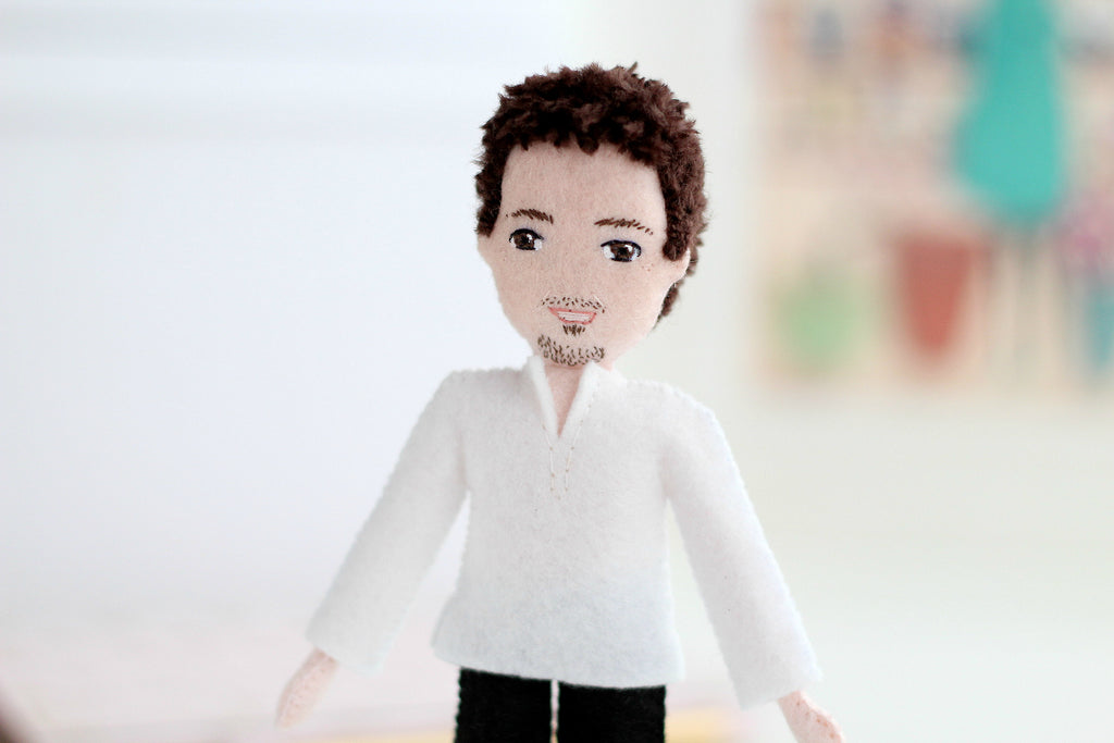 guru, yoga, teacher, whisper of the pipit, selfie doll, handmade doll, where to buy custom doll,