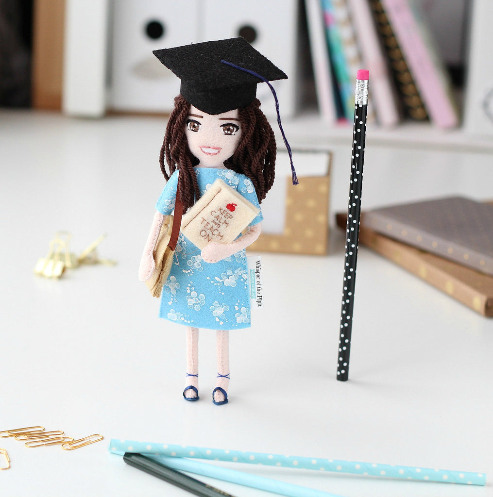teacher doll, handmade dolls from felt, whisper of the pipit