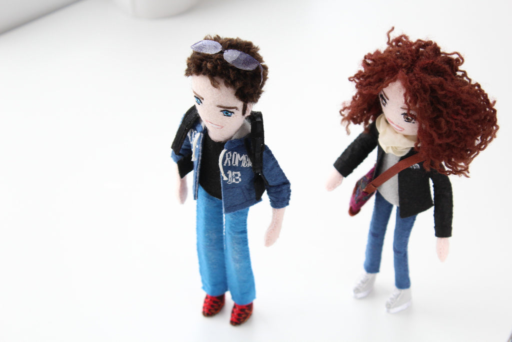 Felt dolls to look like you. Hand-size dolls are fantastic gifts for birthdays. Whisper of the Pipit dolls are unique gifts.