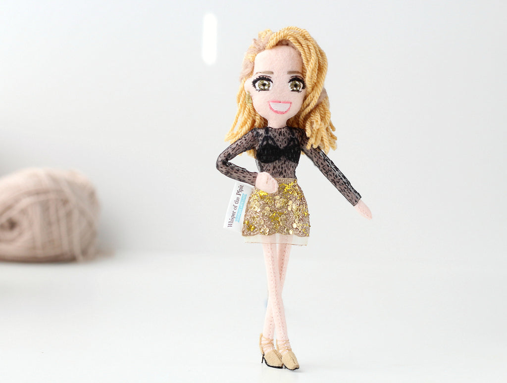 selfie doll of actress, custom art doll