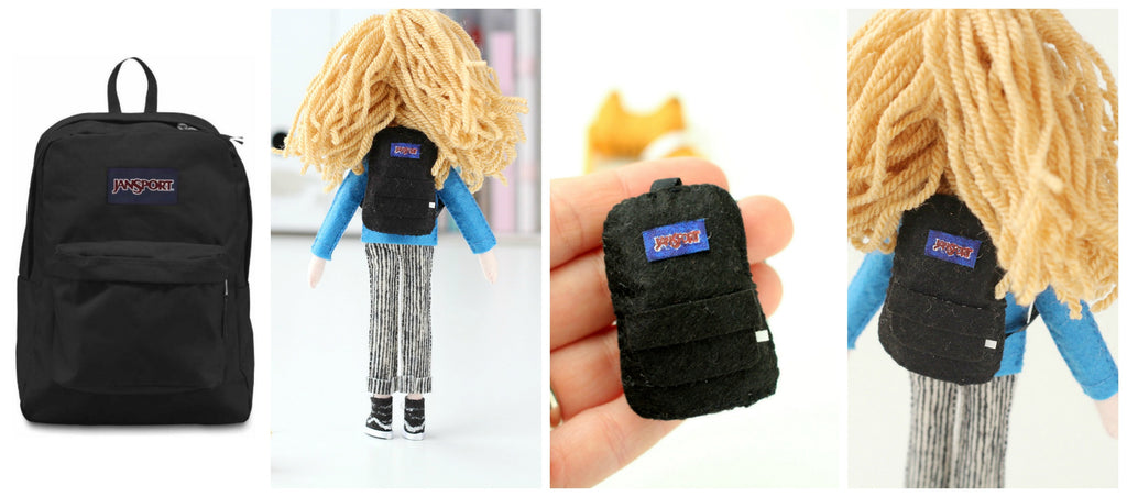 felt backpack on selfie doll