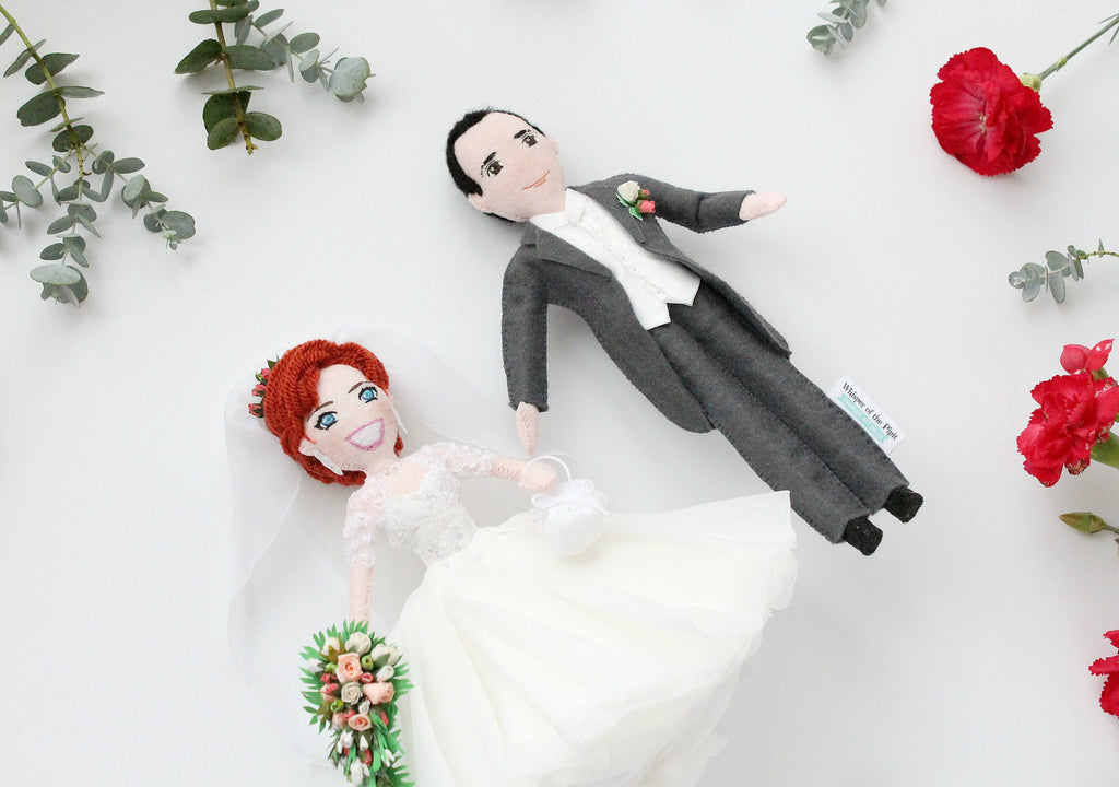 bride and groom art dolls made to order