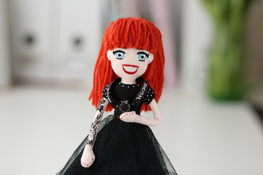 selfie doll with tattoo sleeve, unique and one of a kind gifts for girls,