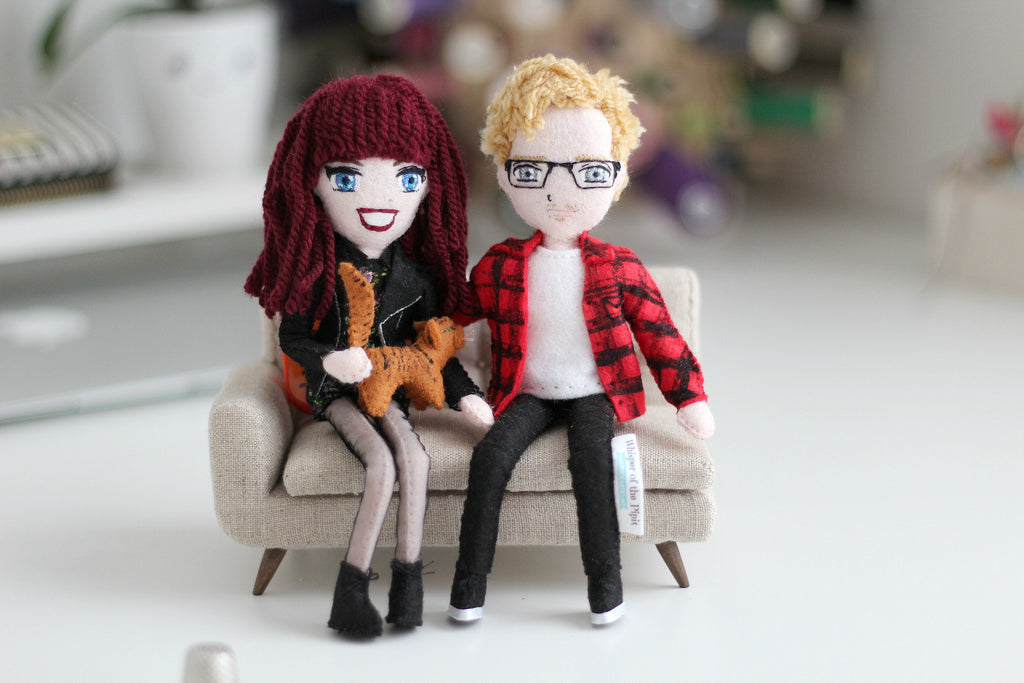 custom art doll, selfie doll, handmade doll, custom made gift, personalised gift, unique gift for couples, personalised wedding gift, personalised gift for him, personalised gift for her, Christmas gift idea, Valentine gift idea for couples, selfie, whisper of the pipit