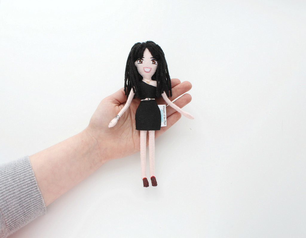 on my hand, small felt doll made to order, unique gift for sister,