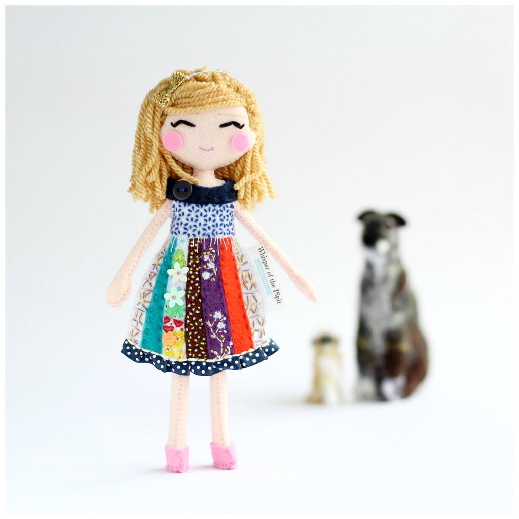 Little girl and two dogs art dolls. Whisper of the Pipit dolls