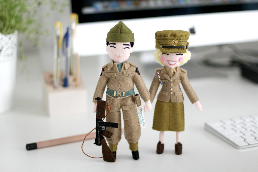 british commando world war 2, ATS, selfie dolls, unique gift for couples, anniversary gift, Whisper of the Pipit dolls