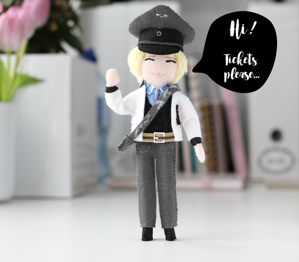 little train conductor doll, felt art doll, personalised doll,