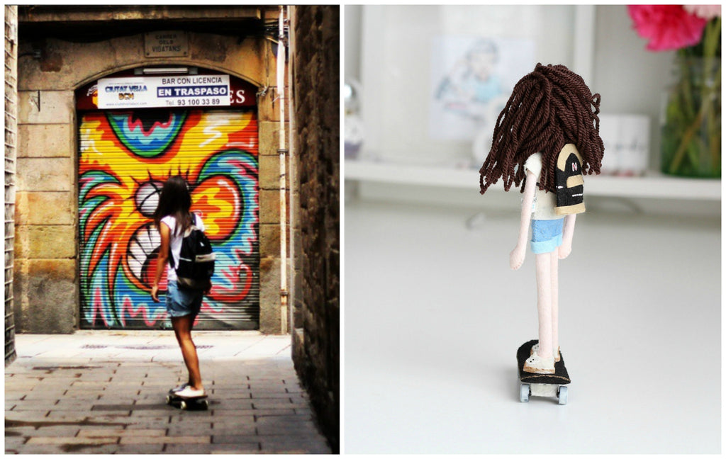 selfie doll, girls can skateboard too, whisper of the pipit doll, handmade dolls