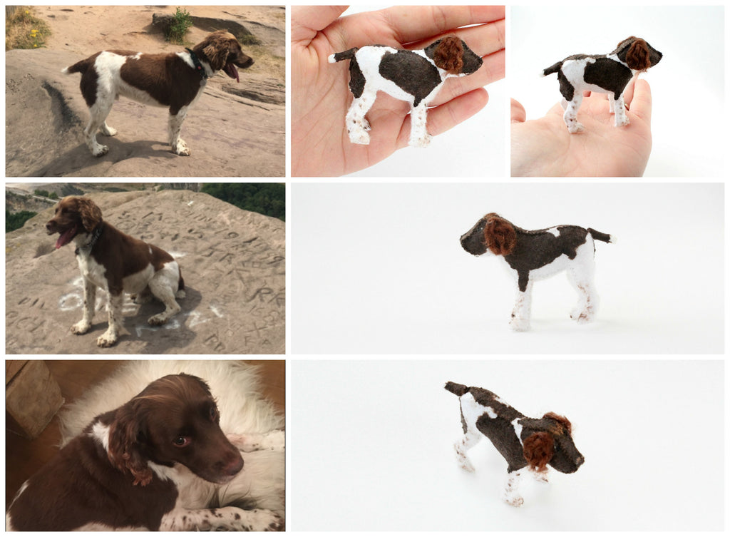 custom pet, handmade dog statue from felt