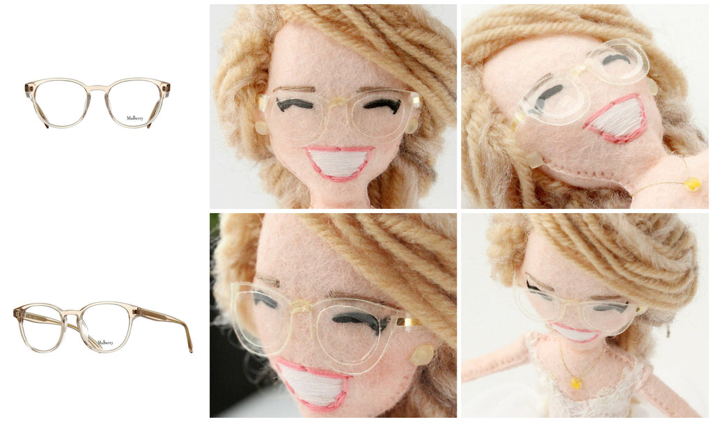bride in glasses doll cake topper by whisper of the pipit