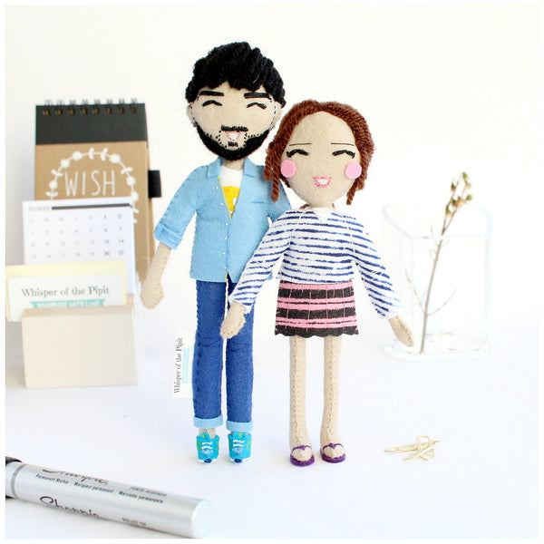 personalised dolls of siblings, mother's day gift idea, custom art dolls, anniversary, silver anniversary ideas, gold anniversary ideas,