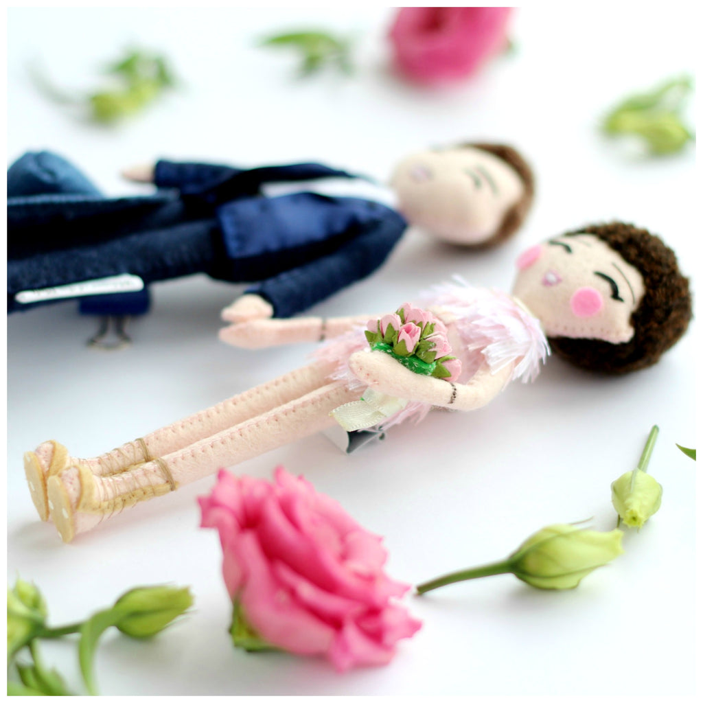 wedding dolls, bride and groom, wedding gift idea, whisper of the pipit