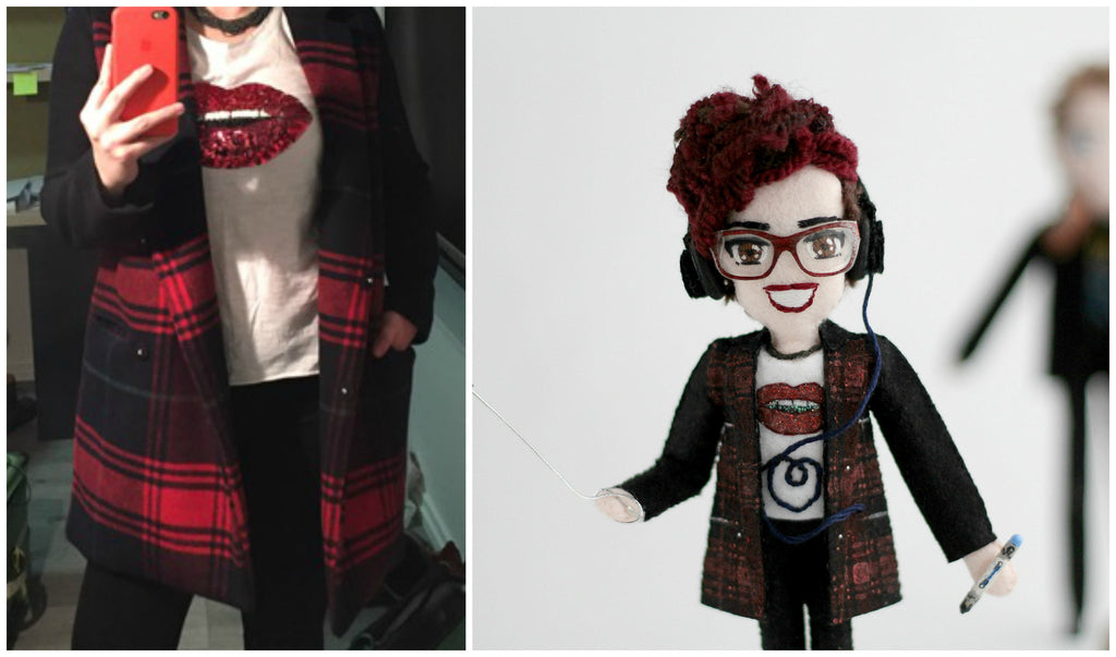 selfie dolls with tiny details. read coat with hand-painted pattern. handmade dolls are unique gifts.