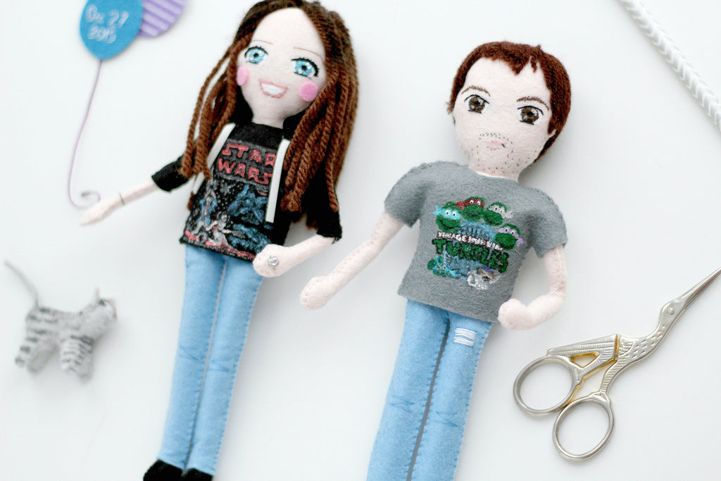 selfie dolls, to look like me, whisper of the pipit dolls, felt dolls,