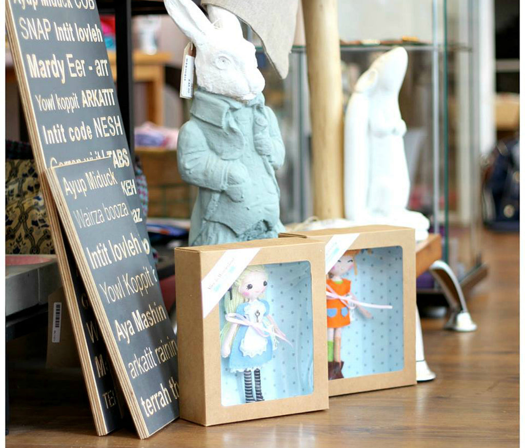 Dezigne Store Nottingham, Shopping in Nottingham, Alice in Wonderland art doll, Pipi Longstocking, Pippi Longstocking, Whisper of the Pipit, Stockists, Handmade stockists, Made to order art. SHOP www.whisperofthepipit.com