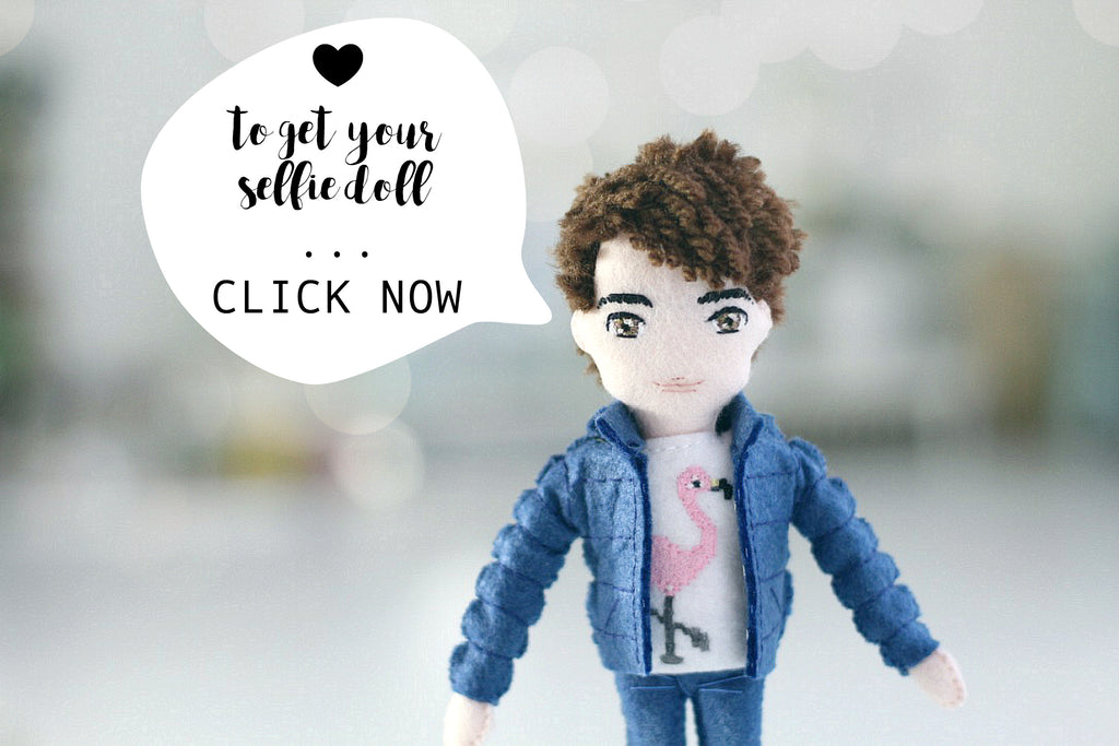 selfie doll, handmade to order, whisper of the pipit art dolls are unique gifts for her or for him