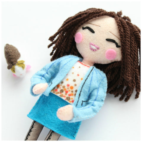 custom order for my lovely customer Gaelle. Personalised handmade art doll with guinea pig. Handmade from felt fabric according to the picture provided by the customer. There's nothing like Whisper of the Pipit art dolls