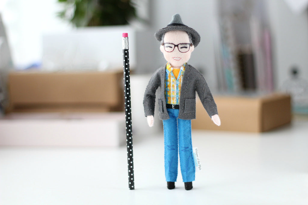 doll of a pencil size, custom doll from felt, unique gift for a friend