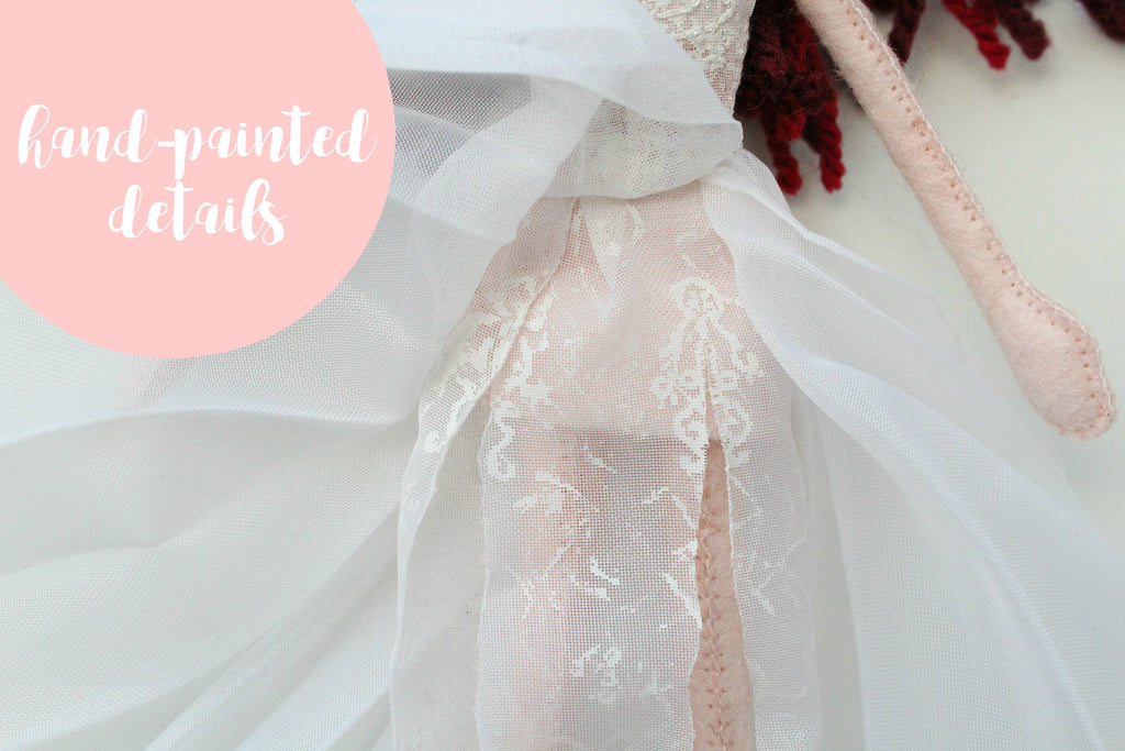 handpainted details on the wedding dress