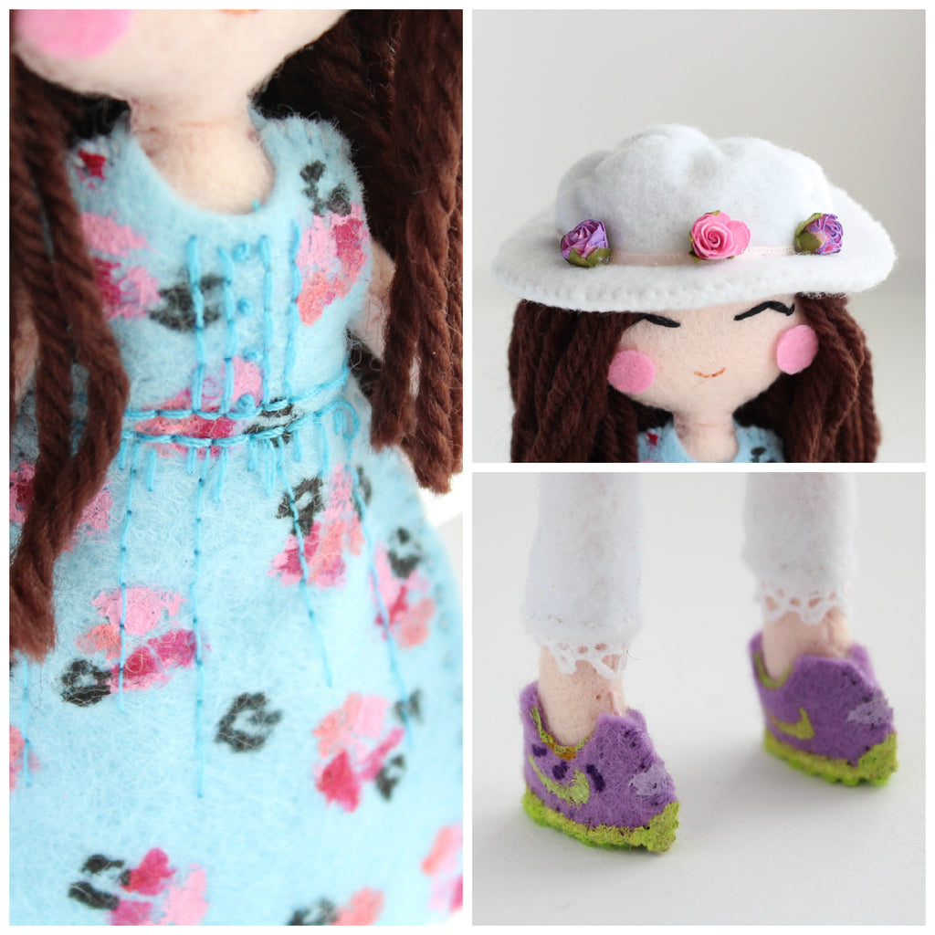 details of custom art dolls.