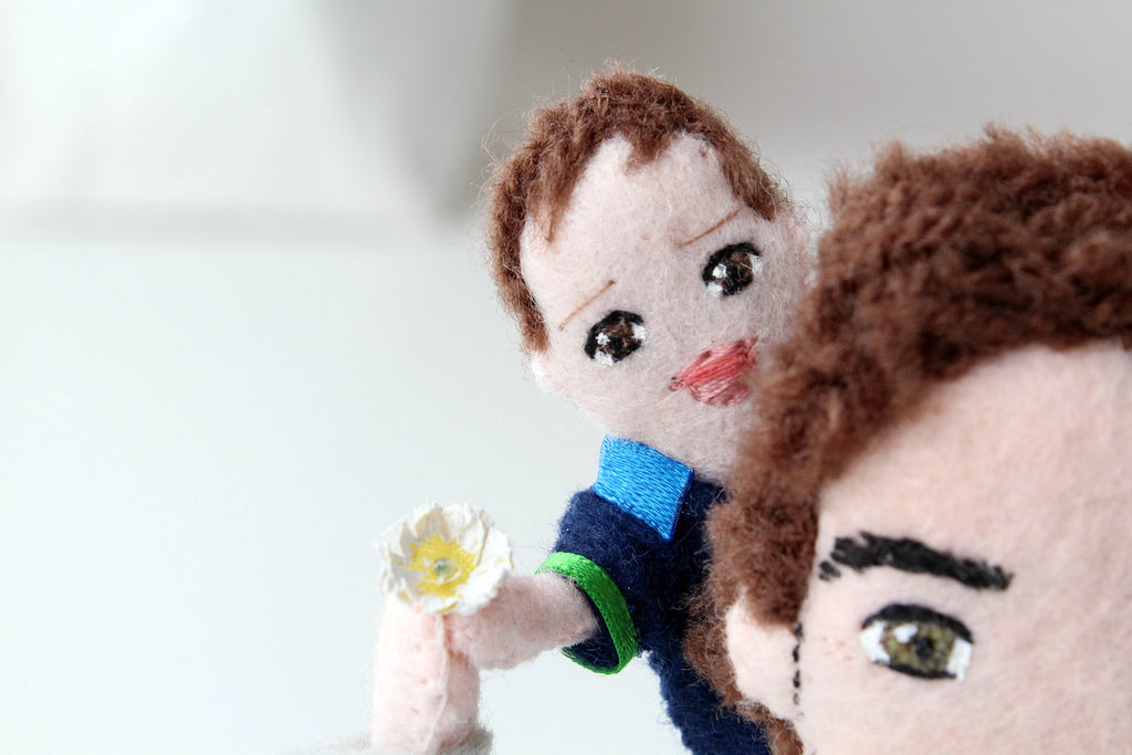 selfie dolls, handmade doll, Whisper of the Pipit dolls, father's day gift idea, baby and dad, gifts for dads