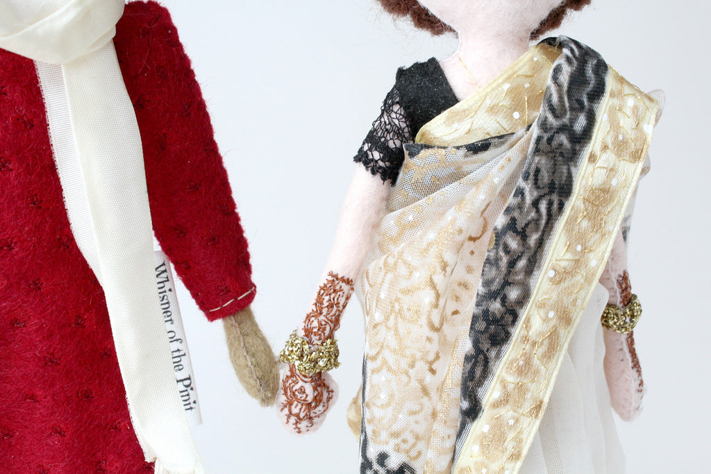 Ethinic wedding dolls, Hindu wedding, Saree, art dolls, Whisper of the Pipit dolls, Malgo Amos, handmade selfie dolls, selfie dolls, handmade dolls, unique gifts, wedding gifts