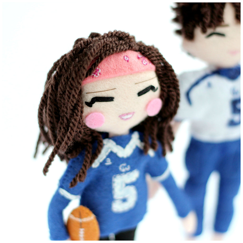 Looking for a perfect gift for someone who likes football? mini me dolls are the best choice. Make your own selfie doll and surprise your loved ones. SHOP: www.whisperofthepipit.com