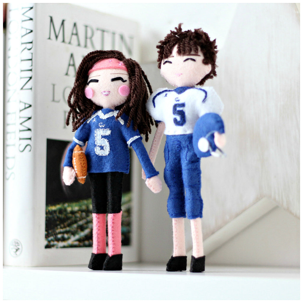 custom art dolls. American football dolls. felt dolls. selfie dolls. Whisper of the Pipit dolls. SHOP: www.whisperofthepipit.com