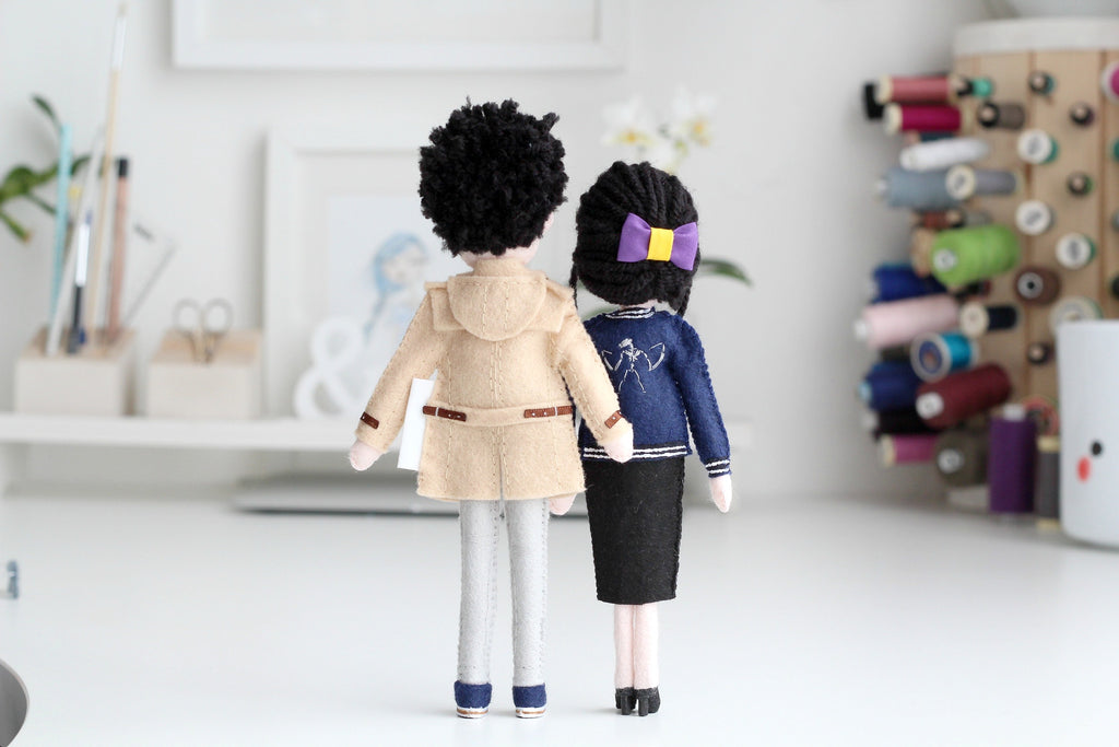 selfie dolls, made to order gift, Whisper of the Pipit, handmade dolls, felt dolls, felt figurines, gift for him, gift for her, unique gift for couples, anniversary gift, valentines gift, christmas gift for him
