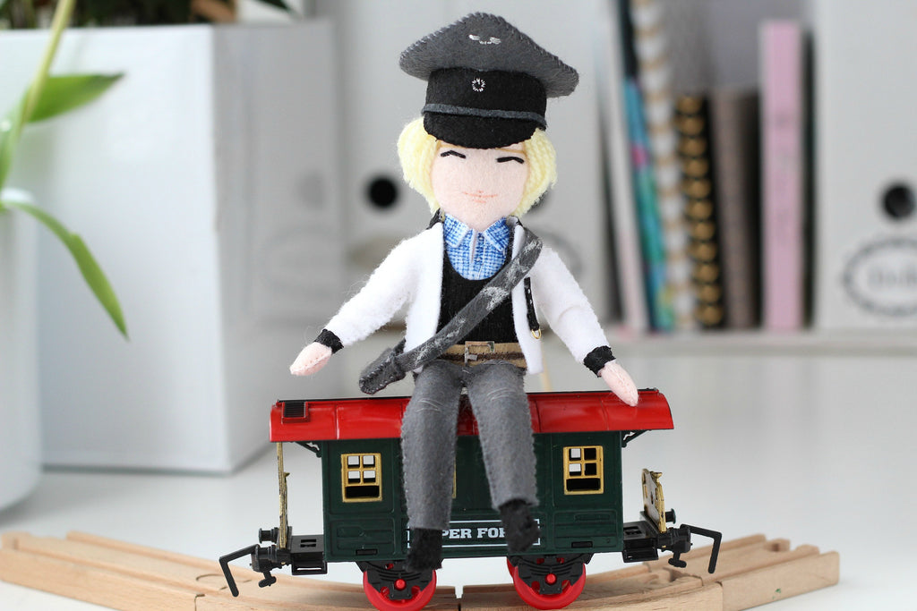 train conductor, little doll from whisper of the pipit,