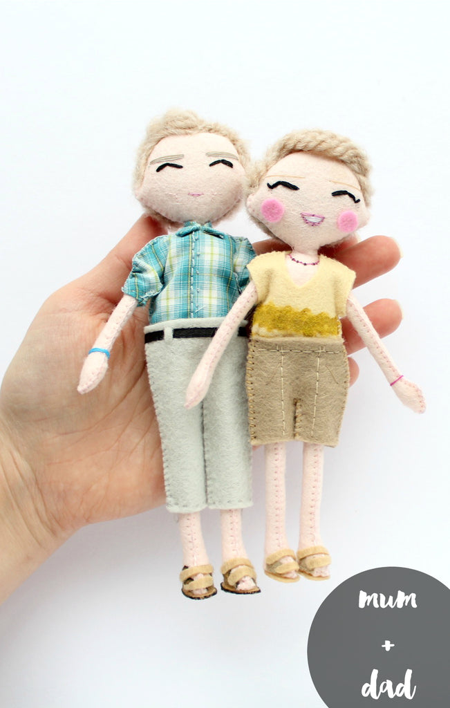 Mum and dad, personalised art dolls made from felt. Unique gift idea for parents. SHOP: www.whisperofthepipit.com