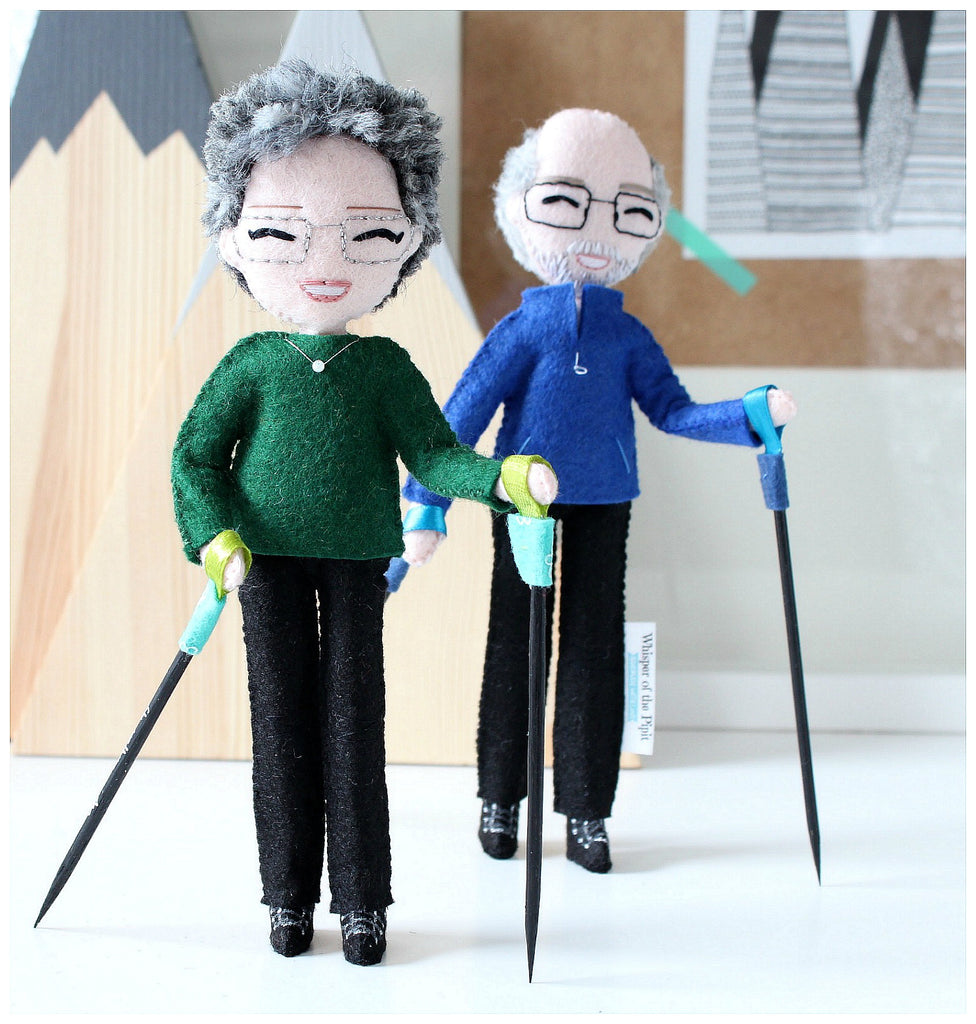 nordic walking parents, custom art dolls to look like you or your loved ones. What to give parents for anniversary, wedding. Selfie dolls. Boyfriend gift ideas. Gifts for her. Mothers day gift. Valentines Day gift. Mum to be gifts. Personalised dolls. Family portraits. Where to buy personalised gift. What to give boyfriend. Anniversary gifts. What to give dad on his birthday. SHOP: www.whisperofthepipit.com