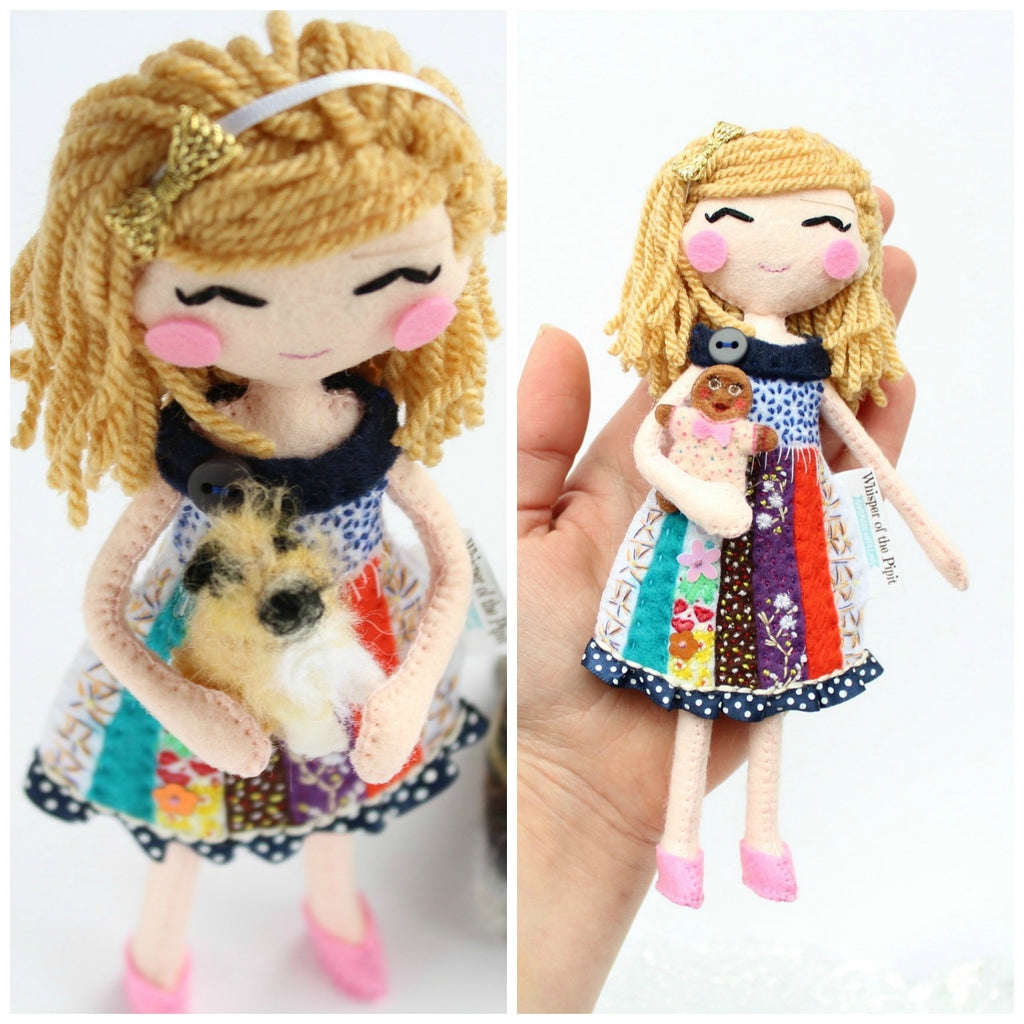 custom art dolls for Robin. Little girl with dogs. Whisper of the Pipit art dolls. Handmade from felt fabric