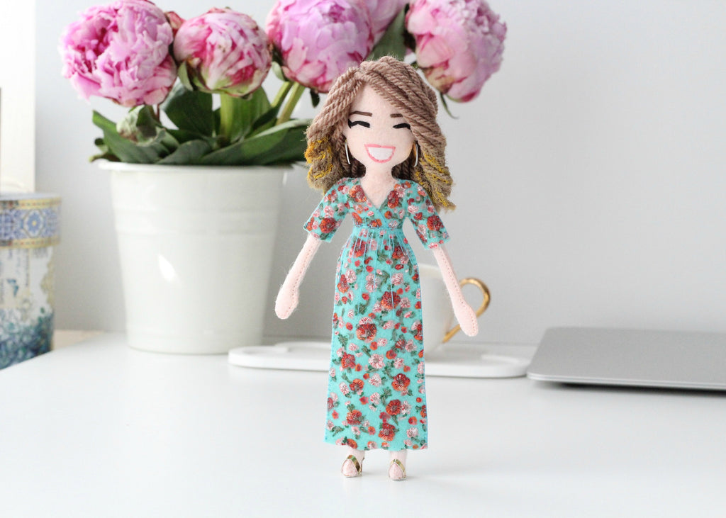 doll among peonies, custom doll by whisper of the pipit