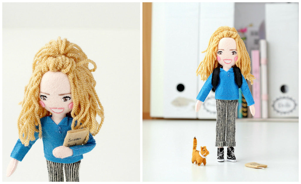 selfie doll with felt cat