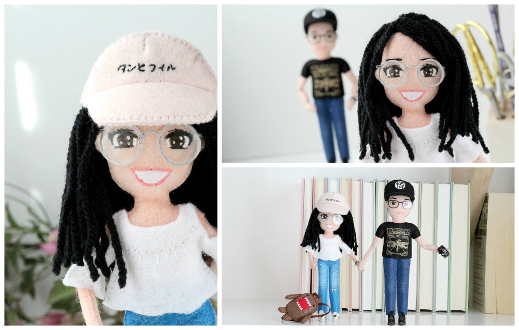 selfie dolls couple him and her round glasses whisper of the pipit