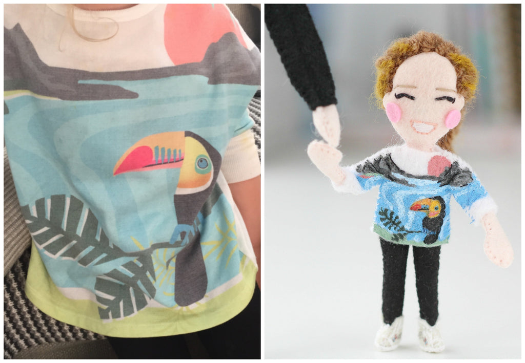 toucan t-shirt doll, felt doll, whisper of the pipit, gift for dad